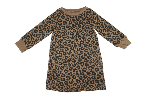 Leopard Dress- Camel - Ice Cream Castles Kids