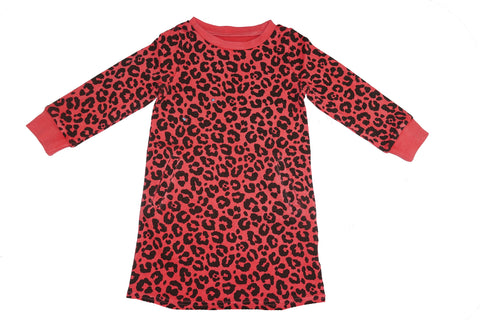 Leopard Print Dress- Red - Ice Cream Castles