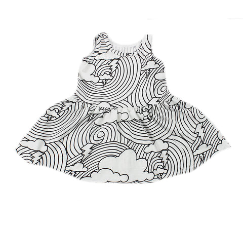 Cloud Lightning Repeat Print Tank Dress- White - Ice Cream Castles