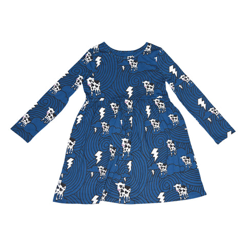 Cow Cloud Long Sleeve Dress in Blue - Ice Cream Castles Kids