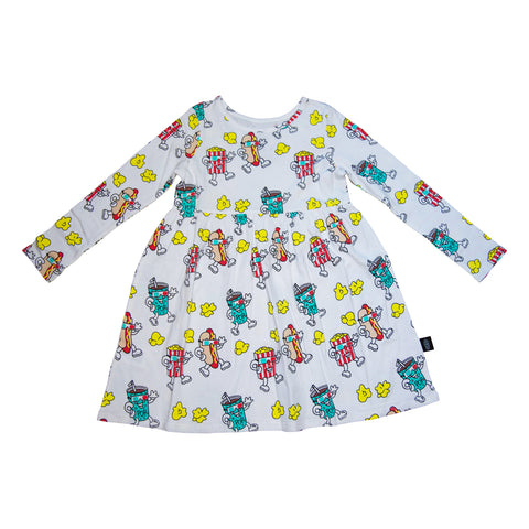 Popcorn Print Long Sleeve Dress in White - Ice Cream Castles Kids