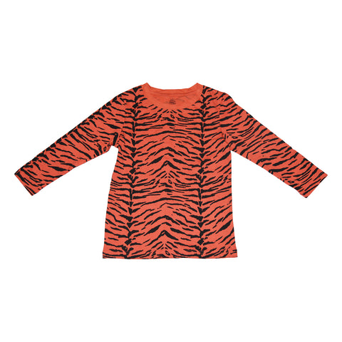 Tiger Stripe Long Sleeve Tee in Living Coral - Ice Cream Castles Kids