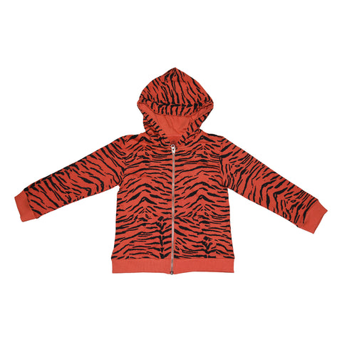 Tiger Stripe Zip Hoodie in Living Coral- Ice Cream Castles