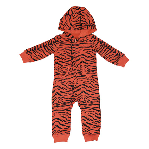 Tiger Stripe Romper in Living Coral - Ice Cream Castles Kids