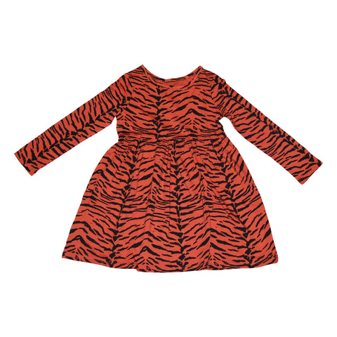 Tiger Stripe Long Sleeve Dress in Living Coral - Ice Cream Castles Kids