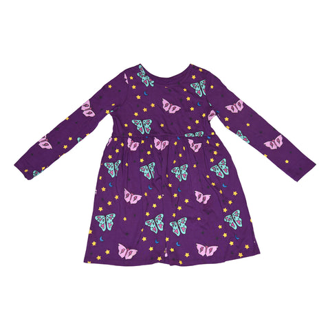 Papillon Long Sleeve Dress in Grape - Ice Cream Castles Kids