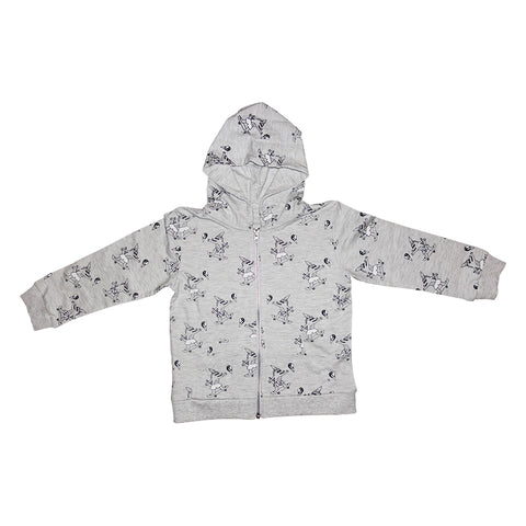 Brain Freeze Repeat Print Zip Hoodie in Heather Gray - Ice Cream Castles Kids