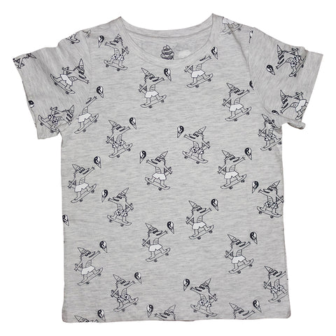 Brain Freeze Repeat Print Short Sleeve Tee in Heather Gray - Ice Cream Castles