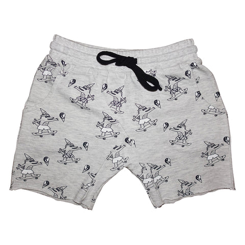 Brain Freeze Repeat Print Harem Shorts in Heather Gray - Ice Cream Castles