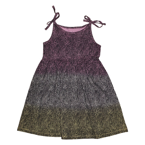 Tie Dye Alligator Print Tie Top Dress in Lilac - Ice Cream Castles Kids