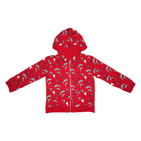 Race Car Dolphin Repeat Print Zip Hoodie in Red - Ice Cream Castles Kids