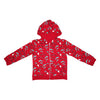 Race Car Dolphin Repeat Print Zip Hoodie in Red - Ice Cream Castles