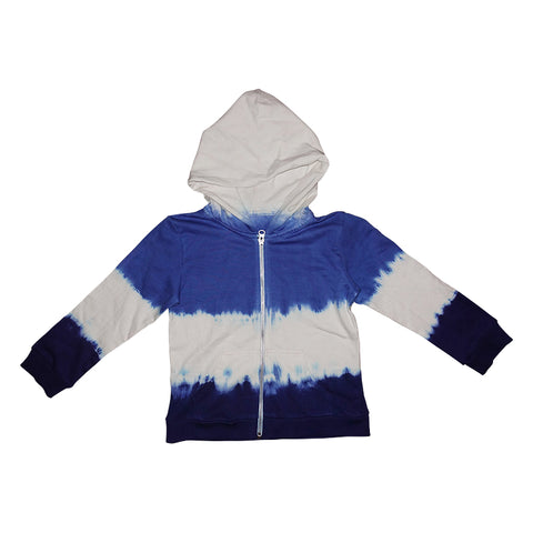 Tie Dye Race Car Dolphin Single Print Zip Hoodie in Electric - Ice Cream Castles Kids