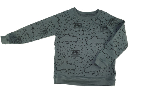 Mint Chip Cassette Print Sweatshirt- Gray - Ice Cream Castles