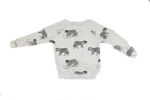 Snow Leopard Print Sweatshirt- White - Ice Cream Castles