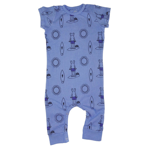 Frog Surf Print Romper- Blue - Ice Cream Castles