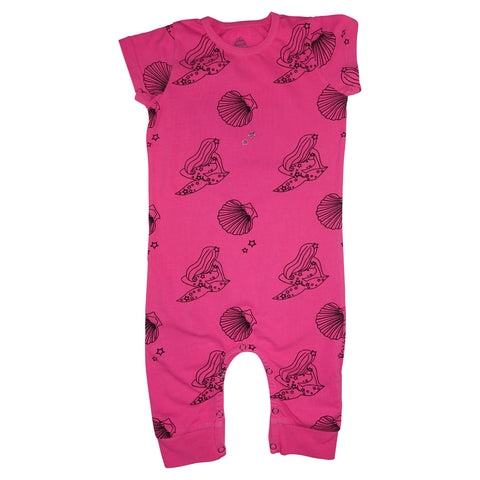 Mermaid Repeat Print Romper- Neon Pink - Ice Cream Castles Kids