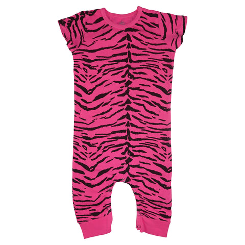 Tiger Stripe Romper- Neon Pink - Ice Cream Castles