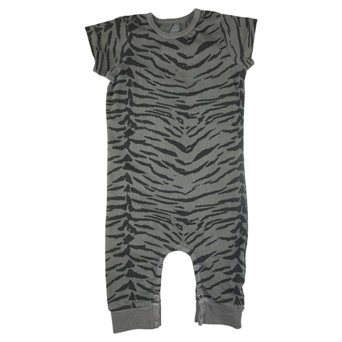 Tiger Stripe Romper- Gray - Ice Cream Castles