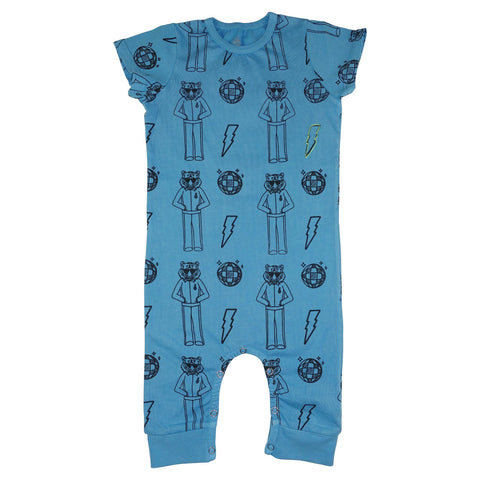 Tiger Disco Print Romper- Bright Blue - Ice Cream Castles