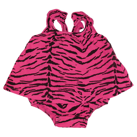 Tiger Stripe Ruffle Dress Romper- Neon Pink - Ice Cream Castles
