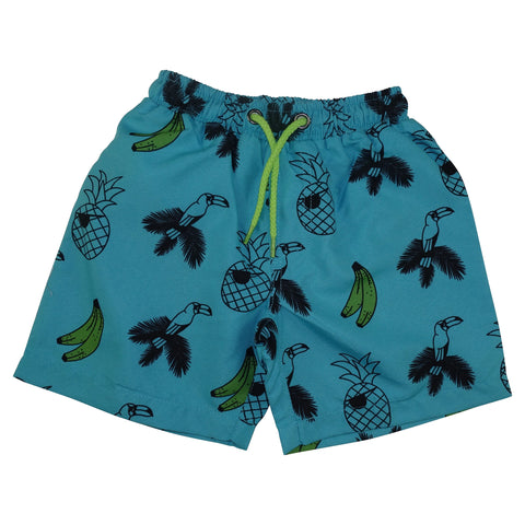 Banana and Bird Print Swim Trunks- Turquoise - Ice Cream Castles