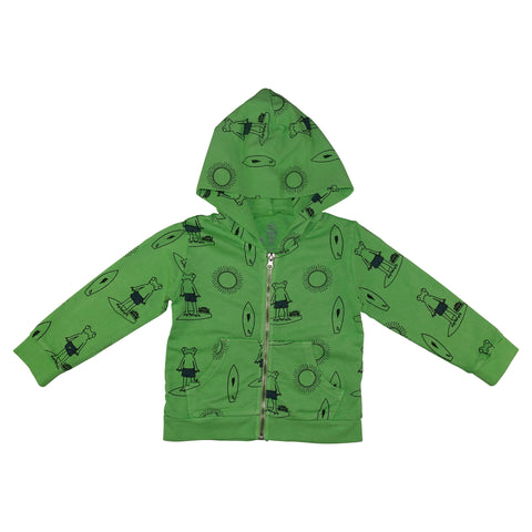 Frog Surf Print Hoodie- Green - Ice Cream Castles Kids