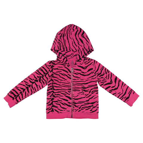 Tiger Stripe Hoodie- Neon Pink - Ice Cream Castles Kids