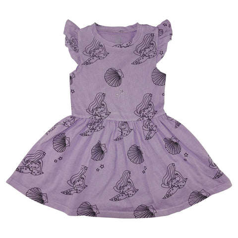 Mermaid Repeat Print Ruffle Dress- Lavender
