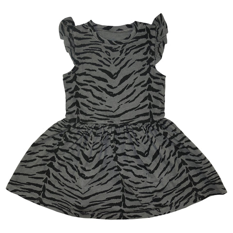Tiger Stripe Ruffle Dress- Gray