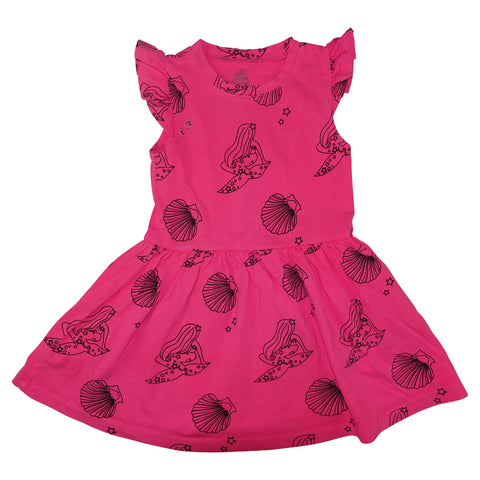 Mermaid Repeat Print Ruffle Dress- Neon Pink - Ice Cream Castles