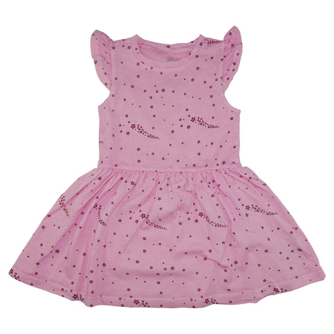 Star Print Ruffle Dress- Pink