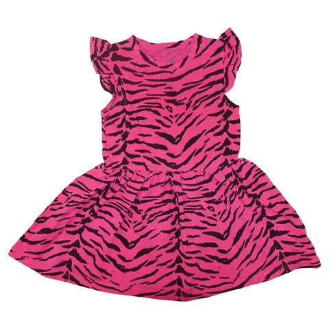 Tiger Stripe Ruffle Dress- Neon Pink - Ice Cream Castles Kids