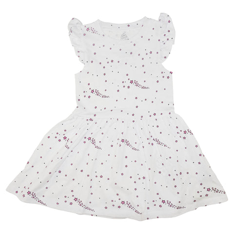 Star Print Ruffle Dress- White