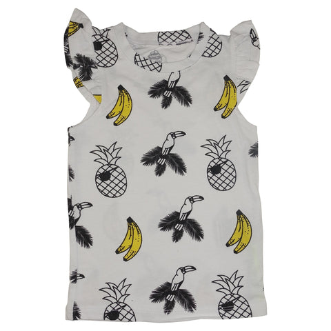 Banana and Bird Print Ruffle Tank- White - Ice Cream Castles