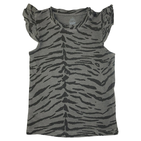 Tiger Stripe Ruffle Tank- Gray - Ice Cream Castles Kids
