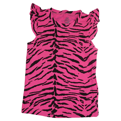 Tiger Stripe Ruffle Tank- Neon Pink - Ice Cream Castles Kids