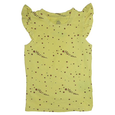 Star Print Ruffle Tank- Yellow - Ice Cream Castles Kids