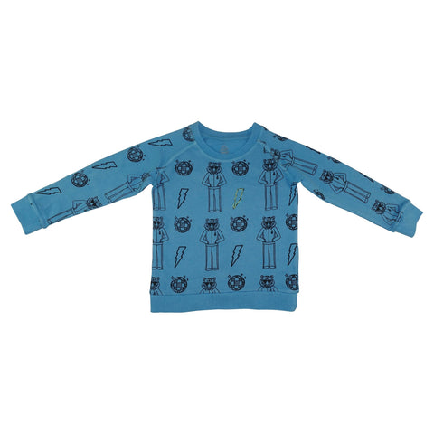 Tiger Disco Pullover- Bright Blue - Ice Cream Castles