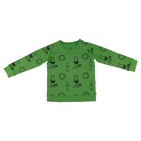 Frog Surf Print Pullover-Green - Ice Cream Castles