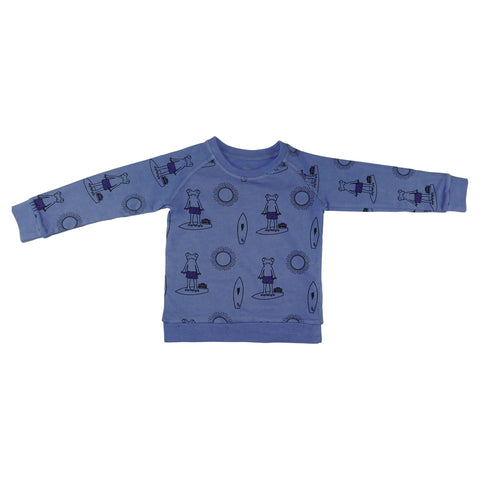 Frog Surf Print Pullover-Blue - Ice Cream Castles Kids