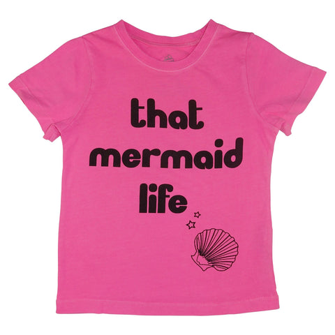 That Mermaid Life Graphic Tee- Neon Pink - Ice Cream Castles