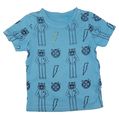 Tiger Disco Print Tee- Bright Blue - Ice Cream Castles Kids