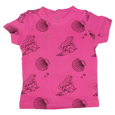 Mermaid Repeat Print Tee- Neon Pink