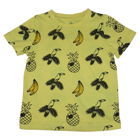 Banana and Bird Print Tee- Yellow