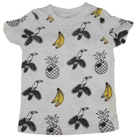 Banana and Bird Print Tee- White