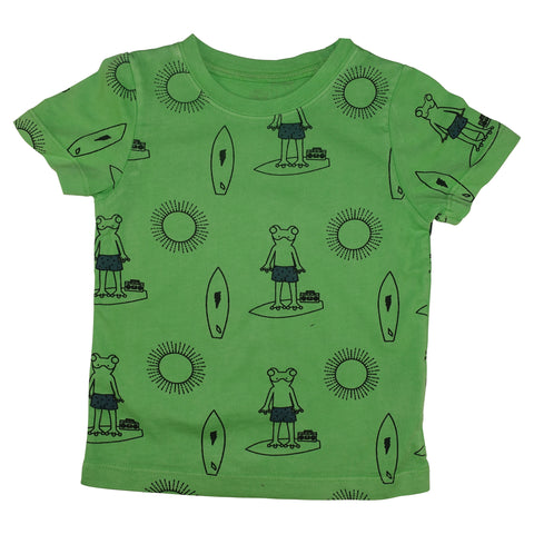 Frog Surf Print Tee- Green - Ice Cream Castles Kids
