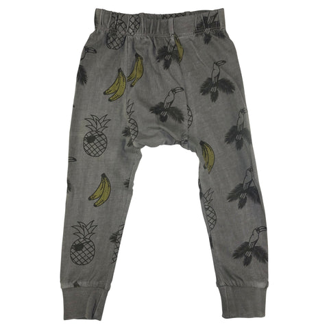 Banana and Bird Print Leggings- Gray