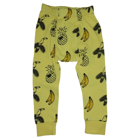 Banana and Bird Print Leggings-Yellow
