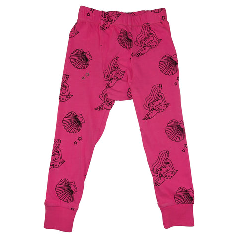Mermaid Repeat Print Leggings- Neon Pink - Ice Cream Castles Kids